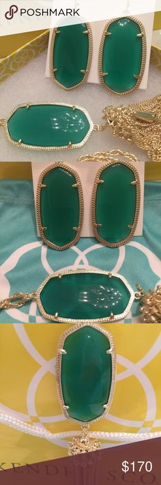 NWT Kendra Scott Rayne & Danielles Green & Yellow This set is AMAZING! A brand new with tags, stunning Kendra Scott Rayne in irresistible green is perfectly paired with impossible to find brand new with tags pair of Danielle's in matching green and gold! Fabulous! Comes with two genuine KS signature blue dustbags. Please no lowballs or trades😊 Kendra Scott Jewelry