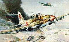 Ил - 2  штурмуют мотомехколонну немцев.
