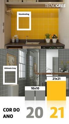 Garanta um ambiente moderno e descontraído com as cores que serão tendência para este ano. Aposte nos azulejos Tecnogres! #pantone #coresdoano #corpantone #amarelo #cinza #cores2021 #tendencia #inspiracao #azulejo #piso #ceramica #revestimento #tecnogres #grupofragnani Kitchen Cabinets, Home Decor, Gray Yellow, Pantone Color, Tiling, Environment, Colors, Tiles, Trendy Tree