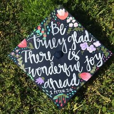I'm obsessed with this custom graduation I created for the sweetest customer  #calligraphy #homedecor #walldecor #etsy #quote #bibleverse #scripture #graduation #graduationcap