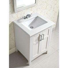Ordinaire Salem White 24 Inch Bath Vanity With 2 Doors And White Marble Top |  Overstock