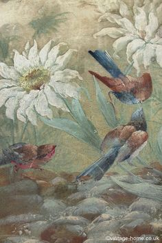 Vintage Home - 19th Century French Handpainted Birds and Flowers Silk Boudoir Box: www.vintage-home.co.uk