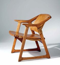 Rolf Hesland; Oak and Leather 'Fox' Armchair for Haug Snekkeri AS, 1958.
