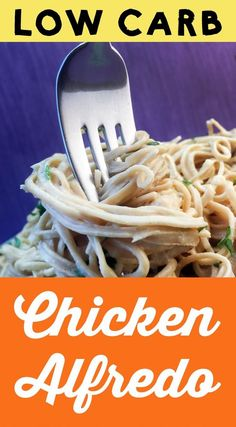 This low carb Chicken Alfredo is a snap to make and a delight to eat. It's really good. This entree is also Keto, Atkins, Paleo, THM-S, LCHF, Gluten Free and Sugar Free. #resolutioneats #lowcarb #keto #paleo #chicken