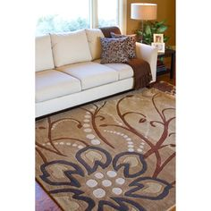 @Overstock - A floral pattern decorates this hand-tufted wool rug. Beige, brown, ivory, charcoal and tan hues accent this area rug.http://www.overstock.com/Home-Garden/Hand-tufted-Whimsy-Tan-Floral-Wool-Rug-9-x-12/5724086/product.html?CID=214117 $617.99