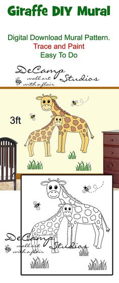 DIY Jungle Giraffe and Baby Wall Art Mural Pattern Printable Digital Download for baby boy or girl nursery or kids room decor. Do it Yourself Trace and Paint by Number. Also great for church nursery, childcare, pediatric office, and preschool #decampstudios