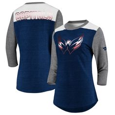 Washington Capitals Fanatics Branded Women s Iconic Tri-Blend 3 4-Sleeve T- Shirt – Heathered Navy Heathered Gray 4b53bf6d8