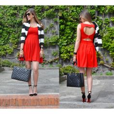 Red dress with cut out heart in back