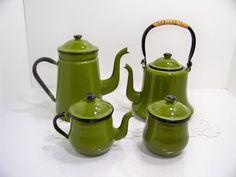 Vintage Enamel Ware Serving Set Coffee Tea Cream by SmakBoutique,  129.95