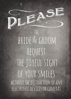 Matte Printed Chalkboard Sign for an Unplugged Wedding. See the eyes of loved ones, and prevent the overly enthusiastic from photobombing your professional ceremony photos at the same time. Ceremony Signs, Wedding Ceremony, Our Wedding, Dream Wedding, Wedding Stuff, Wedding Tips, Wedding 2017, Wedding Programs, Budget Wedding