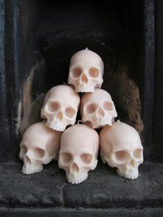 Skull candle pile