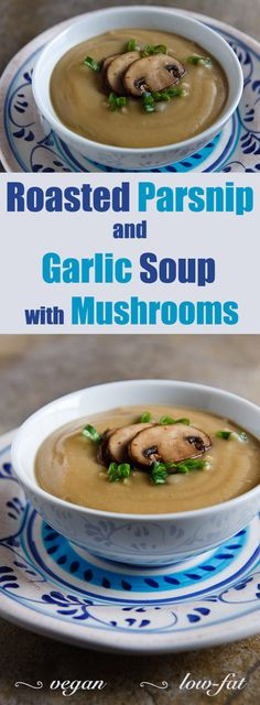 Garlic and parsnips are roasted together and then pureed with white beans for a creamy parsnip soup with no cream, butter, or soy products.