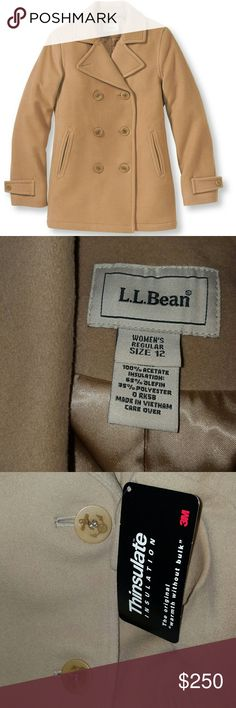 L.L. Bean Lambswool Peacoat NWT Anchor Buttons Ladies Size 12 ~ 80% lambswool 20% nylon Lining is 100% acetate Insulation is 65% olefin 35% polyester. Gorgeous And Qarm Lambswool Peacoat. Has theThinsulate 3m insulation tag still attached. Still on the websiTe for $200. GORGEOUS and stylish. Has cute anchors on buttons too. Moving to a warmer area and no oonger will need. L.L. Bean Jackets & Coats Pea Coats