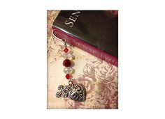 Cross Heart Glass Beaded Charmed Bookmark by TeaandSensibility, $10.00