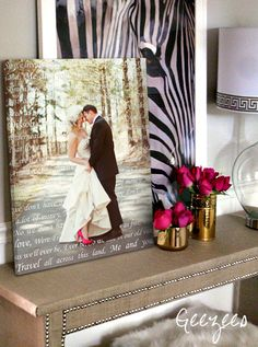A gorgeous keepsake - your wedding portrait on canvas with the lyrics of a song from your wedding or your vows Wedding photo printed on canvas with words behind couple