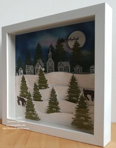 Diy Christmas Shadow Box, Christmas Box Frames, Christmas Math, Shadow Box Kunst, Shadow Box Art, Picture Frame Crafts, Office Christmas Decorations, Box Patterns, Xmas Ornaments