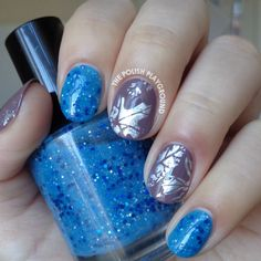 Blue Glitter and Taupe with Holo Leaves Nail Foil
