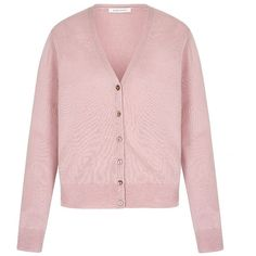 Simple cashmere cardigan| Designer Cover Up| Suzannah ❤ liked on Polyvore featuring tops, cardigans, v-neck tops, cashmere top, pink top, v-neck cardigan and pink v neck cardigan