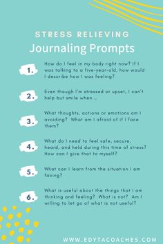 Journaling prompts for stress relief. Stress less and enjoy a healthier happier life with these journal prompts. Learn to manage your stress and control your mental health. Coping With Stress, Dealing With Stress, Stress And Anxiety, Anxiety Tips, Ways To Reduce Stress, Stress Less, How To Relieve Stress, Mental Health Journal, Mental Health And Wellbeing