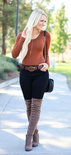 Brown bodysuit outfit