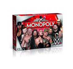Monopoly WWE Wrestling - Betritt den Ring, würfle und hole dir die heißesten WWE-Superstars der aktuellen WWE! Investiere in Tribünen und Stadien und schon werden deine Mieteinnahmen explodieren! Handle mit deinen Gegnern und halt die Augen nach günstigen Deals bei Auktionen offen. Es gibt viele Wege, das zu bekommen, was du willst! Bleib auf Zack – denn an der Spitze ist nur Platz für Einen. Auf alle anderen wartet der Bankrott. Erkämpfe dir deinen Erfolg – du kannst alles haben!