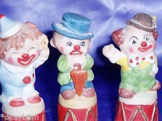 Vintage-3-Clown-Porcelain-Thimbles-Product-of-Enesco