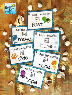 Practice adding suffixes using the drop rule with these task cards. These fun ocean themed task cards can also be used as a scoot game to keep students activity engaged while practicing adding suffixes.