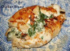 Spinach Stuffed Chicken Breast Recipe Main Dishes with baby spinach, sour cream, shredded cheese, garlic, boneless chicken breast, salt, pepper