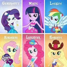 Rarity, Pinkie Pie, Fluttershy, Applejack, Twilight Sparkle and Rainbow Dash. The Elements of Harmony