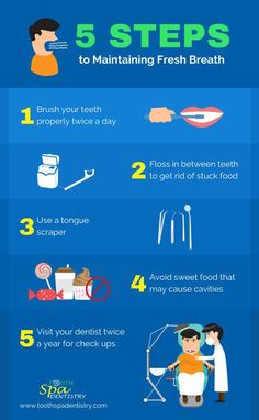 To know more the different steps in maintaining fresh breath, visit Tooth Dentistry's website or call for more tips and facts about dental care. Teeth Health, Dental Health, Oral Health, Dental Care, Dental Quotes, Dental Facts, Dental Posters, Pediatric Dentist, Best Oral