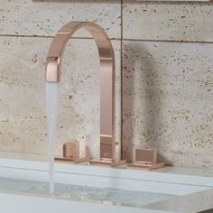 Visualise a bathroom... Marsala feature wall with this rose gold taps.