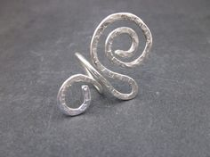 Large Sterling Silver Swirl Ring by SuSebghatiArts on Etsy, $38.00
