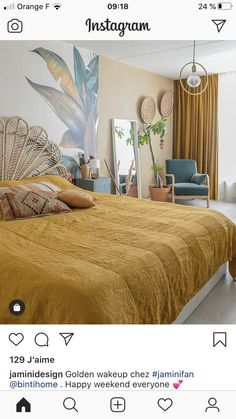 Equip the bedroom as a hotel room with an ocher-colored bedspread – rustic home interior Luxury Homes Interior, Home Interior Design, Home Decor Kitchen, Home Decor Bedroom, Rustic Home Interiors, Decorating Small Spaces, Bedroom Styles, Cheap Home Decor, Home Furniture
