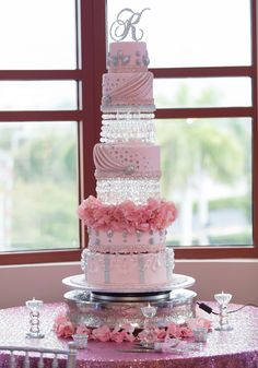 Pink +crystals - Quinceanera cake -The cake Zone