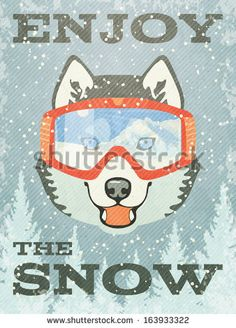 Winter Poster with Husky. Vector illustration, eps10.