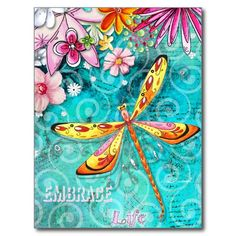 Great Big Canvas 'Embrace Life' by Megan Duncanson Graphic Art Print Format: Black Frame, Size: H x W x D Dragonfly Art, Dragonfly Quotes, Dragonfly Painting, Dragonfly Tattoo, Butterfly Art, Butterflies, Metal Wall Sculpture, Metal Wall Art, Art Journal Inspiration