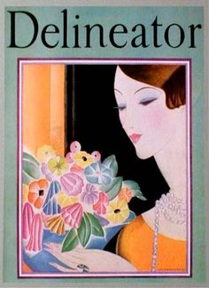 Delineator February 1928  Helen Dryden  Woman with bowl or vase of brilliantly colored flowers, done in a very stylized art deco fashion