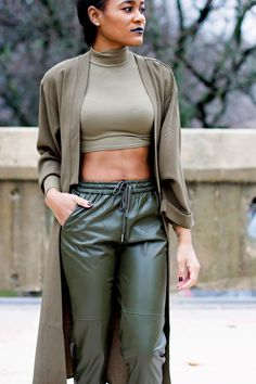 "alt=""olive pants, faux leather pants, olive crop top, olive cardigan, black lipstick"""