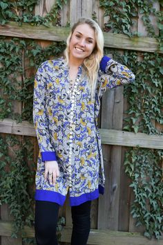 4bb003764d23aa The Emelia Top in Blue and Gold - Liza Byrd Boutique Tunics, Tunic Tops,