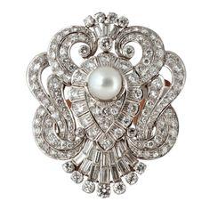 ART DECO - Diamond Platinum Pearl Tortoise Shell Hair Pin #perle