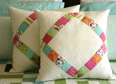 Sweet pillow pattern available from http://crazymomquilts.bigcartel.com/product/diamond-pillow-pattern-pdf#