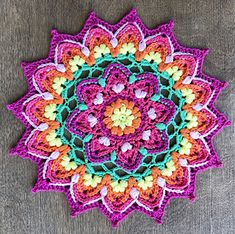 Puffy Mandala pattern by Inas Fadil Basymeleh – Ska - Crochet Crochet Afghans, Crochet Doilies, Crochet Flowers, Crochet Stitches, Front Post Double Crochet, Half Double Crochet, Single Crochet, Love Crochet, Beautiful Crochet