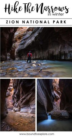 Hiking the Narrows in Winter Zion National Park, Utah - - Want to beat the heat and crowds in Zion National Park? Read about our unforgettable adventure hiking the Narrows in winter including where to rent gear. The Narrows Zion, Narrows Zion National Park, Hiking The Narrows, Hiking Trails, Zion Park, Great Smoky Mountains, Rocky Mountains, The Journey, Winter Hiking
