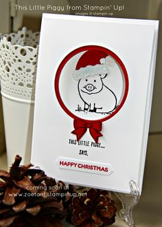 Zoë Tant UK Stampin' Up!®: This Little Piggy humorous Christmas Card - Stamping Scene