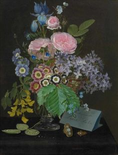 Otto Didrik Ottesen (1816-1892) - Still life with flowers, oil on panel, 31 x 23,5 cm. 1844.