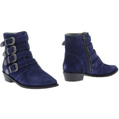 Mr. Wolf Ankle Boots ($188) ❤ liked on Polyvore featuring shoes, boots, ankle booties, blue, blue bootie, short leather boots, buckle booties, bootie boots and blue leather boots