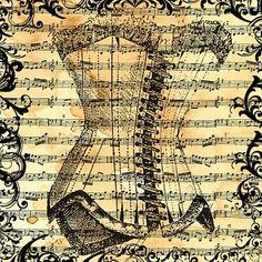 Free digital art stamp - corset music sheet