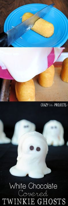 A great idea for kids parties at Halloween! Cut a Twinkie in half, pour white chocolate on it and you've got a ghost! by Crazy Little Projec...