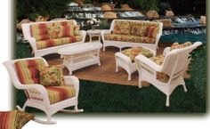 Salinas White Patio Wicker Furniture Set by Schober - Includes Sofa, Loveseat, Arm Chair, Coffee Table, End Table * Hope that you actually do like the picture. (This is our affiliate link) White Wicker Furniture, Sunroom Furniture, Outdoor Wicker Patio Furniture, Outdoor Dining, Outdoor Decor, Outdoor Pool, Garden Furniture, Outdoor Spaces, Patio Seating