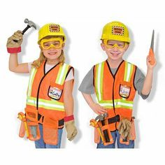 Melissa & Doug Construction Worker Costume Deluxe Role Play Set by Melissa & Doug. $31.99. Work zone ahead! Your little construction worker will be ready for the job with this bright orange, machine-washable, vest high-lighted with reflective material and a tool belt, a yellow hard hat, goggles, a hammer, a saw,  and a name tag for personalizing.